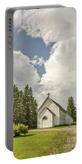 Rural White Church With A Cross Portable Battery Charger