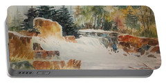 Portable Battery Charger featuring the painting Rushing Streambed by Al Brown
