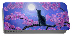 Russian Blue Cat In Pink Flowers Portable Battery Charger