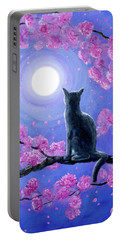 Russian Blue Cat In Pink Flowers Portable Battery Charger by Laura Iverson