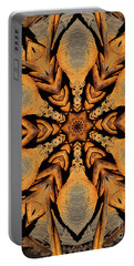 Rustic Barbed Flower Star Mandala Portable Battery Charger by Wernher Krutein