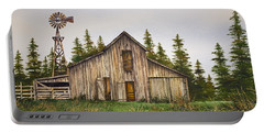 Portable Battery Charger featuring the painting Rustic Barn by James Williamson