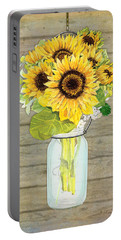 Rustic Country Sunflowers In Mason Jar Portable Battery Charger by Audrey Jeanne Roberts