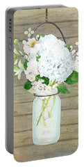 Rustic Country White Hydrangea N Matillija Poppy Mason Jar Bouquet On Wooden Fence Portable Battery Charger