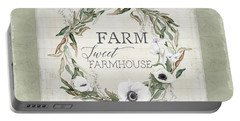 Rustic Farm Sweet Farmhouse Shiplap Wood Boho Eucalyptus Wreath N Anemone Floral Portable Battery Charger