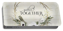 Rustic Farmhouse Gather Together Shiplap Wood Boho Feathers N Anemone Floral 2 Portable Battery Charger