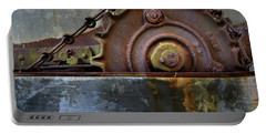 Portable Battery Charger featuring the photograph Rustic Gear And Chain by David and Carol Kelly