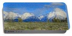 Rustic Grand Teton Range On Wood Portable Battery Charger by Dan Sproul