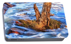 Portable Battery Charger featuring the photograph Rustic Island, Noble Falls by Dave Catley