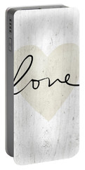 Portable Battery Charger featuring the mixed media Rustic Love Heart- Art By Linda Woods by Linda Woods