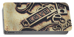 Rustic Love Icons Portable Battery Charger