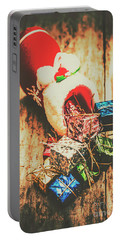 Rustic Red Xmas Stocking Portable Battery Charger