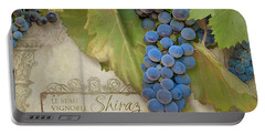 Rustic Vineyard - Shiraz Wine Grapes Over Stone Portable Battery Charger