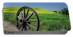 Rustic Wagon Wheel In The Palouse Portable Battery Charger by James Hammond