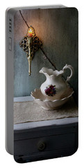 Rustic Water Closet With Brass Sconce And A Pretty Floral Patter Portable Battery Charger