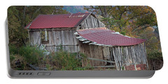 Portable Battery Charger featuring the photograph Rustic Weathered Hillside Barn by John Stephens