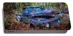 Portable Battery Charger featuring the photograph Rusty Blue Vintage Ford  Truck by Debra and Dave Vanderlaan