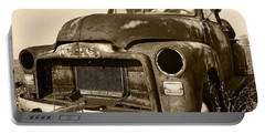 Rusty But Trusty Old Gmc Pickup Truck - Sepia Portable Battery Charger by Gordon Dean II