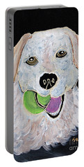 Portable Battery Charger featuring the painting Rusty On Canvas by Janice Rae Pariza