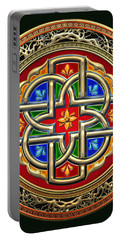 Sacred Celtic Cross On Green Portable Battery Charger
