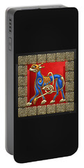 Sacred Celtic Lion On Red And Black Portable Battery Charger
