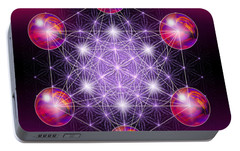 Portable Battery Charger featuring the digital art Sacred Geometry Metatron by Alexa Szlavics