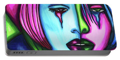 Sad Crying Woman Face Abstract Art Portable Battery Charger