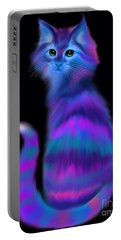 Portable Battery Charger featuring the painting Sad Eyed Colorful Cat by Nick Gustafson