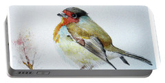 Portable Battery Charger featuring the painting Sad Robin by Jasna Dragun