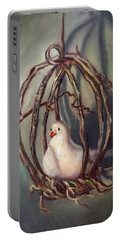 Portable Battery Charger featuring the painting The Dove by Randol Burns