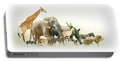 Safari Animals Walking Side Horizontal Banner Portable Battery Charger