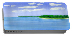 Portable Battery Charger featuring the painting Sag Harbor, Long Island by Dick Sauer