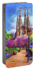 Sagrada Familia And Park,barcelona Portable Battery Charger by Jane Small