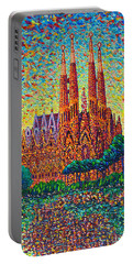 Sagrada Familia Barcelona Modern Impressionist Palette Knife Oil Painting By Ana Maria Edulescu Portable Battery Charger