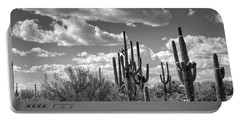 Portable Battery Charger featuring the photograph Saguaro And Blue Skies Ahead In Black And White  by Saija Lehtonen