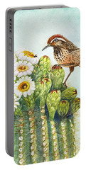 Portable Battery Charger featuring the painting Saguaro And Cactus Wren by Marilyn Smith