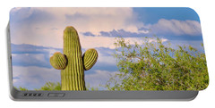 Saguaro And Mesquite In Monsoon Season Portable Battery Charger