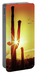 Saguaro Cactus Silhouette At Sunrise Portable Battery Charger