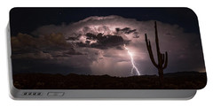 Portable Battery Charger featuring the photograph Saguaro Lit Up By The Lightning  by Saija Lehtonen
