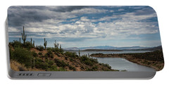 Portable Battery Charger featuring the photograph Saguaro With A Lake View  by Saija Lehtonen