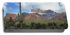 Saguaros Cholla Superstition Mountains Portable Battery Charger by Tom Janca
