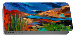 Saguaros Land Portable Battery Charger by Elise Palmigiani
