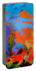 Saguaros Land Sunset By Elise Palmigiani - Square Version Portable Battery Charger