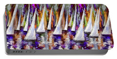 Portable Battery Charger featuring the painting La Regata Decorative Horizontal Panorama Painting By Olena by OLena Art Brand