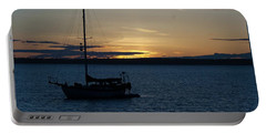 Sail Boat At Sunset Portable Battery Charger