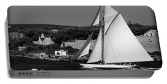 sailboat - a one mast classical vessel sailing in one of the most beautiful harbours Port Mahon Portable Battery Charger by Pedro Cardona