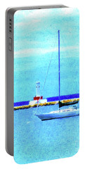 Sailboat At Rest Portable Battery Charger by Desiree Paquette