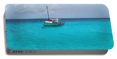 Sailboat Drifting In The Caribbean Azure Sea Portable Battery Charger