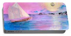 Sailboat In Pink Moonlight  Portable Battery Charger