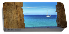 Sailboat Through The Old Stone Walls Of Rhodes, Greece Portable Battery Charger